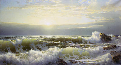 Sunrise At The Beach Painting - Off Connecticut Newport by William Trost Richards
