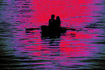 Row Boat Digital Art - Off Into The Sunset by Marnie Patchett