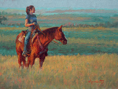 Prairie Girl Wall Art - Painting - Off Line by Jim Clements