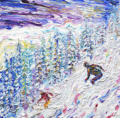Powder Skiing Painting - Off Piste Les Arcs 2000 by Pete Caswell
