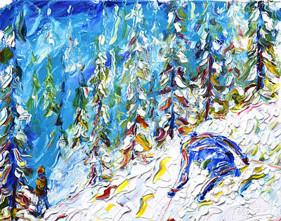 Powder Skiing Painting - Off Piste Verbier by Pete Caswell