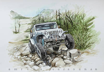 Jeep Drawing - Off-roading With Jeep Wrangler by Amirtha saravanan S