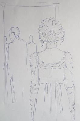 Off To Dinner - Line Illustration Of A Young Woman In A Twenties Period Dress Original by Mike Jory