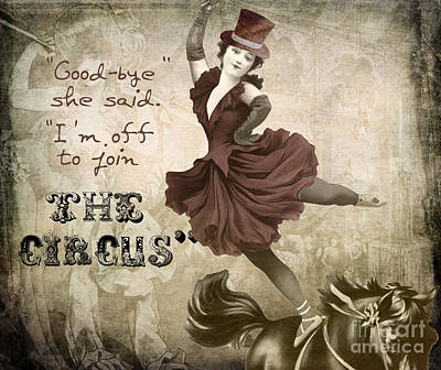 Vintage Circus Painting - Off To Join The Circus by Mindy Sommers