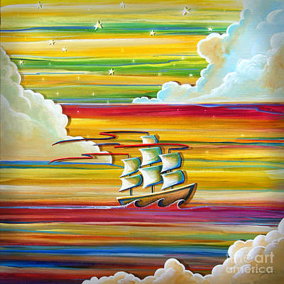 Pirate Ship Painting - Off To Neverland by Cindy Thornton