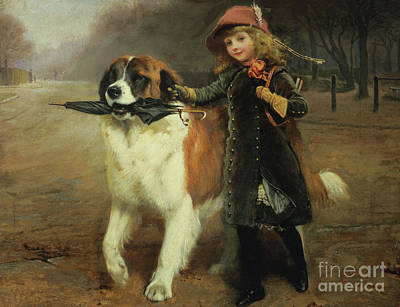 Breed Of Dog Painting - Off To School, 1883 by Charles Burton Barber