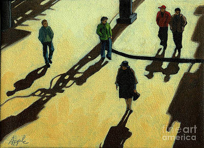 Realism Photograph - Off To Work Shadows - Painting by Linda Apple