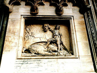 Photograph - Off With His Head - Sculpture On The Cathedral In Milan,italy by Merton Allen