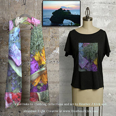 Photograph - Offerings On Scarf And Tee And At Tanah Lot On The Wall by Heather Kirk
