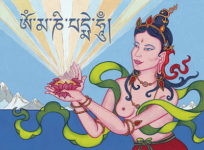 Om Mani Padme Hum Painting - Offering Goddess With Mantra 'om Mani Padme Hum' by Carmen Mensink