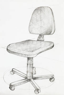 Empty Chairs Drawing - Office Chair by Dan Comaniciu