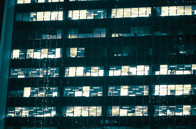 Photograph - Office Condos Lit At Night by Amyn Nasser