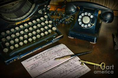 Typewriter Photograph - Office Essentials by Paul Ward