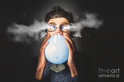 Art Print featuring the photograph Office Party Nerd Blowing Up Birthday Balloon by Jorgo Photography - Wall Art Gallery
