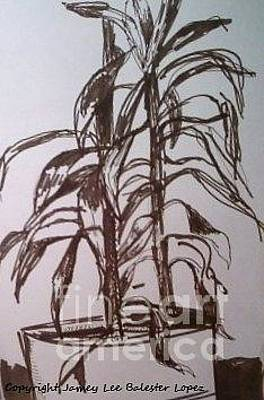 Indoor Still Life Drawing - Office Plant by Jamey Balester