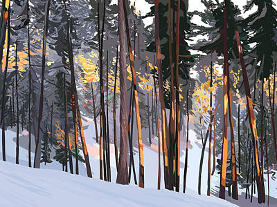 Wall Art - Painting - Office View Winter Alpenglow by Pam Little