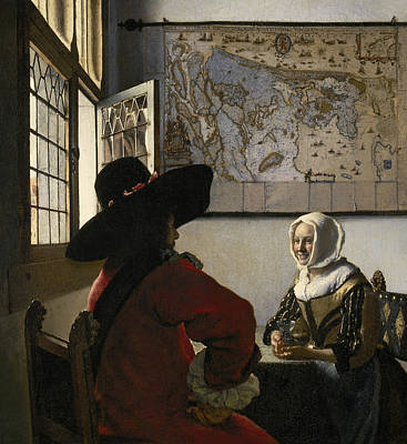 Officer And Laughing Girl Print by Jan Vermeer