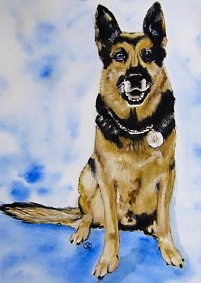 Police Dog Painting - Officer Black by Carol Blackhurst