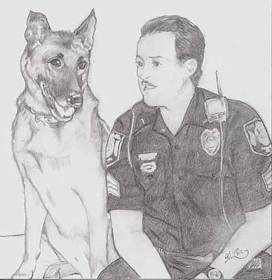 Cook Drawings Drawing - Officer Jack Dunn And K9 Starbuck by D Phillis Cook