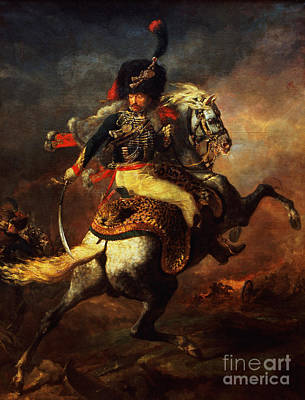 Charge Painting - Officer Of The Hussars by Theodore Gericault