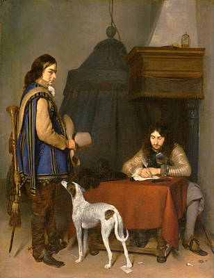 Dog Painting - Officer Writing A Letter, With A Trumpeter by Gerard ter Borch