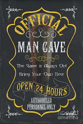 Official Man Cave Art Print by Debbie DeWitt