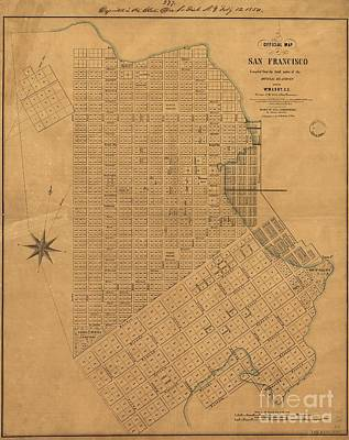 Official Map Of San Francisco 1849 Art Print