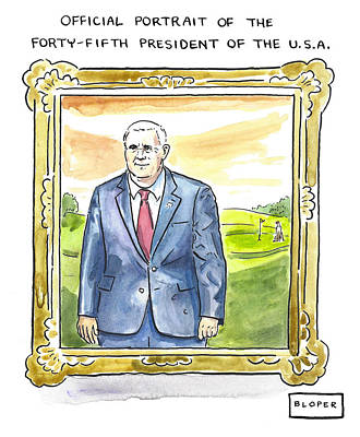 Drawing - Official Portrait Of The Forty Fifth President by Brendan Loper