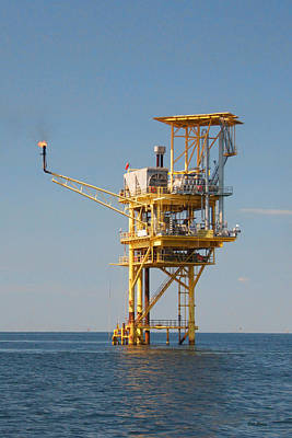 Offshore Gas Platform Art Print by Bill Perry