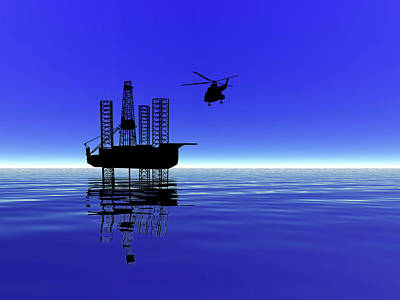 Jack Drill Digital Art - Offshore Jack-up Rig #3 by Dennis Thompson