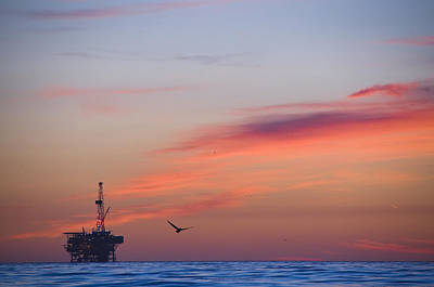 Offshore Oil And Gas Rig In The Pacific Print by James Forte