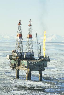 Offshore Oil Wells, Alaska Art Print