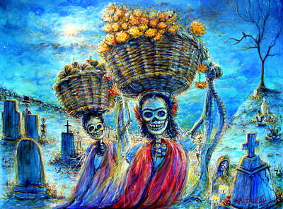 Grave Yard Painting - Ofrendas by Heather Calderon