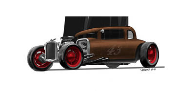 Gradient Drawing - Og Hot Rod by Jeremy Lacy