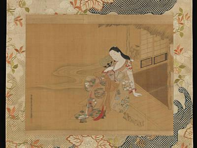 A Summer Evening Digital Art - Ogawa Haritsu    Courtesan Enjoying A Cool Summer Evening by Anne Pool
