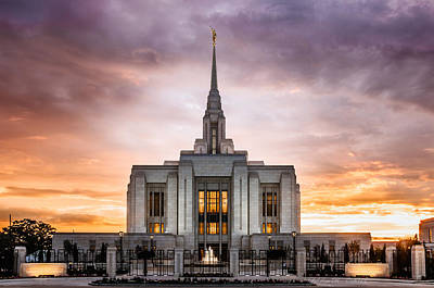 Utah Temple Photograph - Ogden Lds Temple Sunset by La Rae  Roberts