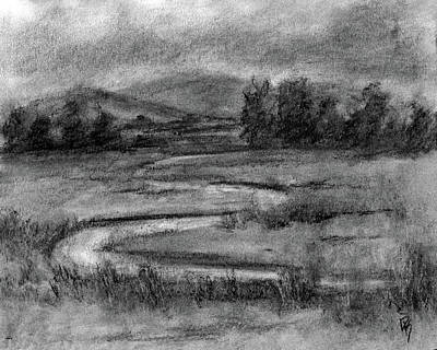Drawing - Ogden Valley Marsh Study by David King