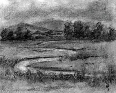 Monochromatic Study Drawing - Ogden Valley Marsh Study by David King