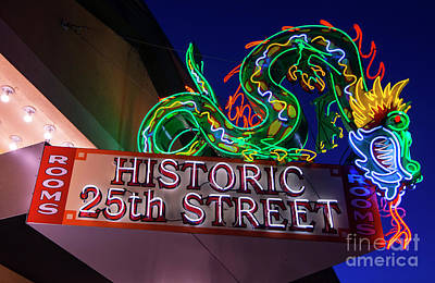 Ogden's Historic 25th Street Neon Dragon Sign Art Print by Gary Whitton