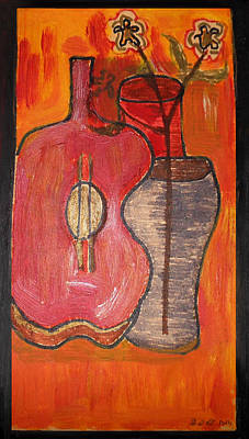 Chitarra Painting - Oggetti In Composizione by Polly Art