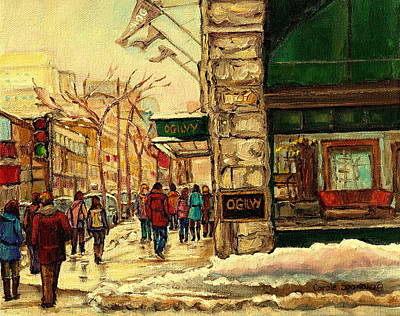 Montreal Winter Scenes Painting - Ogilvys Department Store Downtown Montreal by Carole Spandau