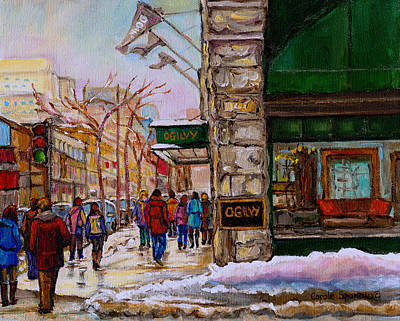 Montreal Winter Scenes Painting - Ogilvy's Department Store Rue St. Catherine Downtown Montreal City Street Scene  by Carole Spandau