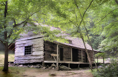 Log Cabins Photograph - Ogle Homestead - Smoky Mountain Rustic Cabin by Thomas Schoeller