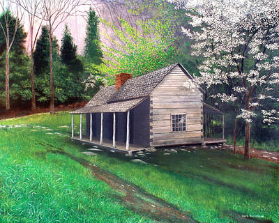 Gatlinburg Painting - Ogle Homestead Gatlinburg Tn by Herb Dickinson