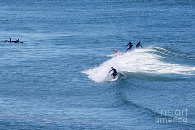 Photograph - Ogunqit Beach Surfers, February 2014  -21000 by John Bald