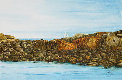 Painting - Ogunquit Maine Sail And Rocks by Paul Gaj