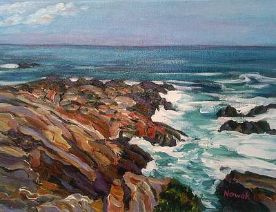 Ogunquit Marginal Way Painting - Ogunquit Rocks Along The Marginal Way by Richard Nowak