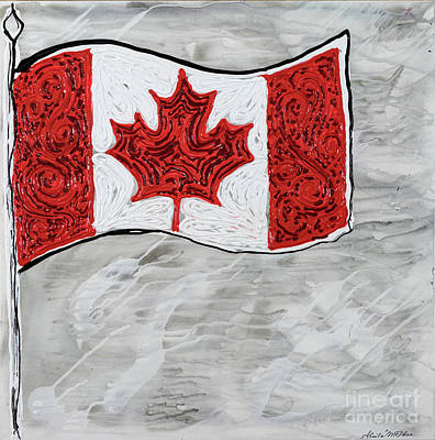 Painting -  Flag Of Canada by Sheila McPhee