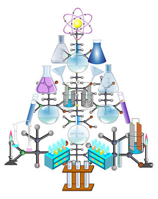 Scientific Mixed Media - Oh Chemist Tree - Oh Christmas Tree  by Gravityx9 Designs