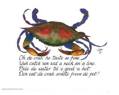 Gullah Painting - Oh De Crab by Vida Miller